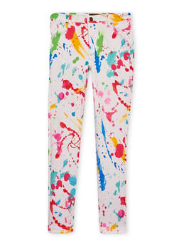 Girls 7-16 Skinny Pants with Paint Splatter Print - 1602056577004