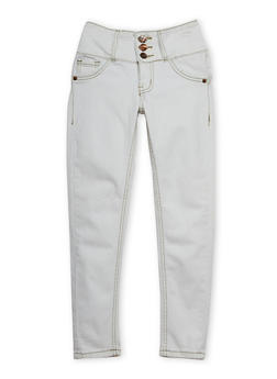 Girls 7-16 Skinny Jeans with 3 Buttons - 1602056720015