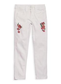 Girls 7-16 Rose Embroidered White Skinny Jeans - 1602056720018