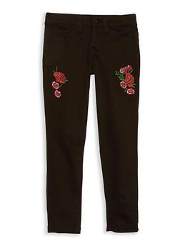 Girls 7-16 Rose Embroidered Black Skinny Jeans - 1602056720019