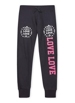Girls 7-16 Joggers with Love Graphics - 1602062700003