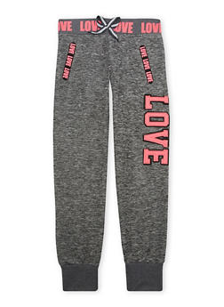 Girls 7-16 Marled Knit Joggers with Love Patch - 1602063400006