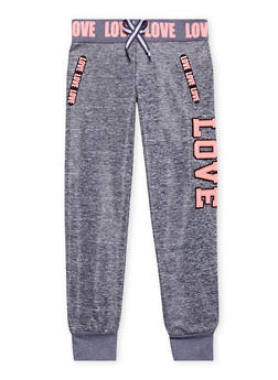 Girls 7-16 Marled Knit Joggers with Love Patch - 1602063400007