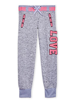 Girls 7-16 Marled Knit Joggers with Love Graphics - 1602063400008