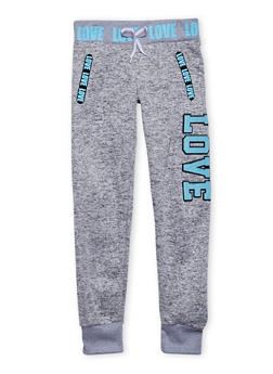 Girls 7-16 Marled Knit Joggers with Love Patch and Graphics - 1602063400009
