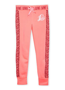 Girls 7-16 Fleece Joggers with Zebra Print Racing Stripes - 1602063400013