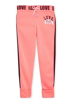 Girls 7-16 Varsity Joggers with Love Graphics - 1602063400019