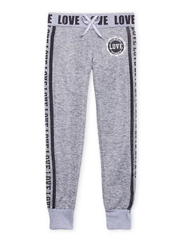 Girls 7-16 Marled Knit Joggers with Flawless Love Graphics - 1602063400026