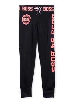 Girls 7-16 Fleece Joggers with Boss Graphic - 1602063400027