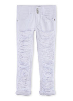 Girls 7-14 Destroyed 3 Button Jeans - 1602063400028