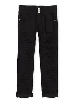 Girls 7-16 Three Button Shredded Skinny Jeans - 1602063400029