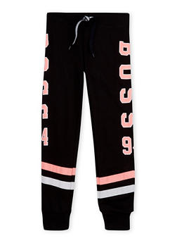 Girls 7-16 Striped Joggers with Boss 94 Graphic - 1602063400030