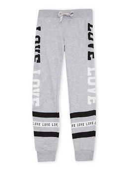 Girls 7-16 Joggers with Love Graphic - 1602063400031