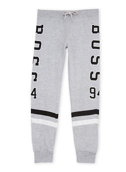 Girls 7-16 Graphic Joggers with Stripes - 1602063400032