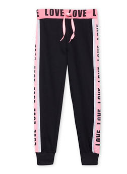 Girls 7-16 Tuxedo Stripe Joggers with Love Graphics - 1602063400033
