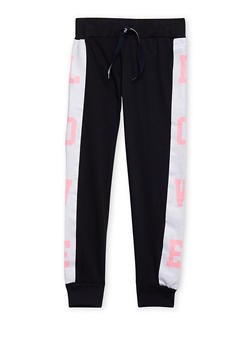Girls 7-16 Tuxedo Stripe Joggers with Love Graphic - 1602063400034
