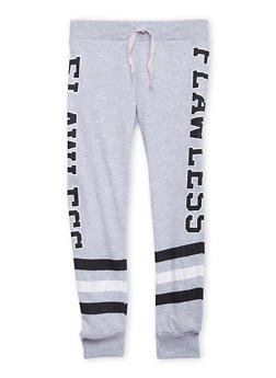 Girls 7-16 Striped Joggers with Flawless Graphic - 1602063400035