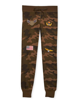 Girls 7-16 Camo Joggers with Patches - 1602063400037
