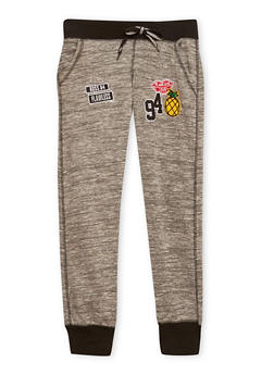 Girls 7-16 Heathered Joggers with Assorted Patches - 1602063400039