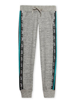 Girls 7-16 Marled Knit Joggers with Love Print Side Panels - 1602063400042