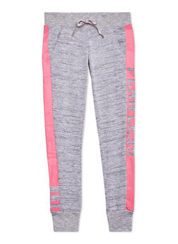 Girls 7-16 Marled Knit Joggers with Flawless Graphic - 1602063400043