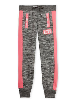 Girls 7-16 Marled Knit Joggers with Love Print - 1602063400044