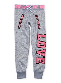 Girls 7-16 Marled Love Graphic Joggers - 1602063400046