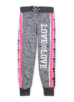 Girls 7-16 Marled Love Graphic Joggers - 1602063400052