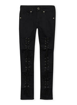 Girls 7-16 VIP Lace Up Jeans - 1602065300064