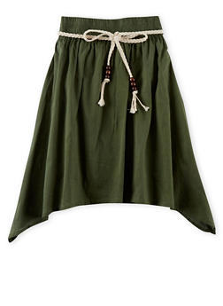 Girls 4-6x Belted Sharkbite Hem Skirt - OLIVE - 1603038340005