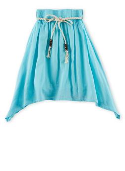 Girls 4-6x Belted Sharkbite Hem Skirt - AQUA - 1603038340005
