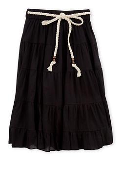 Girls 7-16 Braided Belt Peasant Skirt - 1604038340007