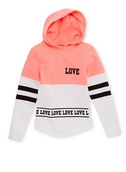 Girls 4-12 Love Print Hoodie - 1605033870064