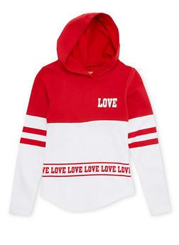 Girls 4-6x Color Block Fleece Hoodie with Love Print - 1605033870065
