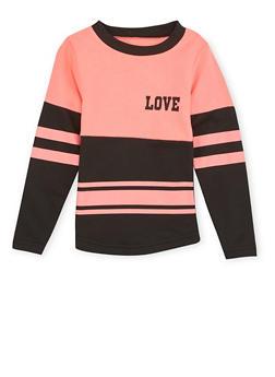 Girls 4-6x Varsity Top with Love Print - 1605033870071