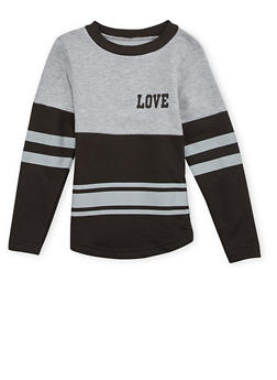 Girls 4-6x Varsity Top with Love Print - 1605033870072