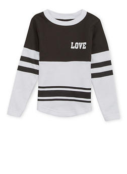 Girls 4-6x Varsity Top with Love Print - 1605033870073