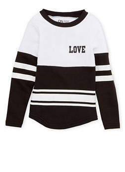Girls 4-6x Striped Top with Love Print - 1605033870074