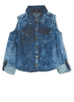 Girls 4-6x Cold Shoulder Top in Acid Wash Denim - 1605038340002