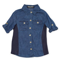Girls 4-6x Denim Shirt with Rib Knit Side Panels - 1605038340003