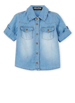 Girls 4-6x Chambray Shirt with High Low Hem - 1605038340006