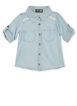 Girls 4-6x Denim Shirt with Crochet Panels - 1605038340007
