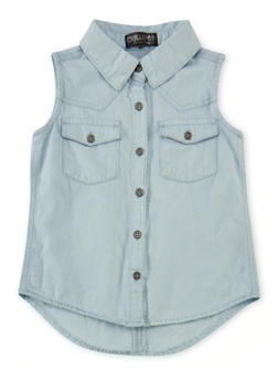 Girls 4-6x Sleeveless Denim Button Front Shirt - 1605038340010