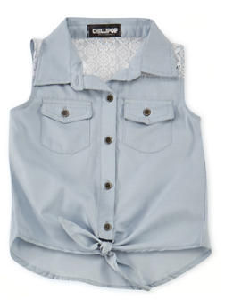 Girls 4-6x Sleeveless Chambray Shirt with Lace Panels and Tie Front - 1605038340011