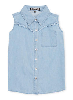 Girls 4-6x Sleeveless Denim Button Front Top with Fringe Trim - 1605038340015