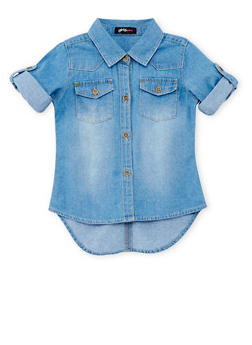 Girls 4-6x Short Sleeve Button Up Chambray Top - 1605038340016