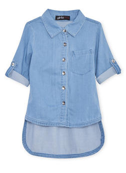 Girls 4-6x Chambray High Low Button Up Shrit - 1605038340018