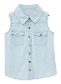 Girls 4-6x Sleeveless Button Up Denim Shirt with Lace Back Detail - 1605038340020