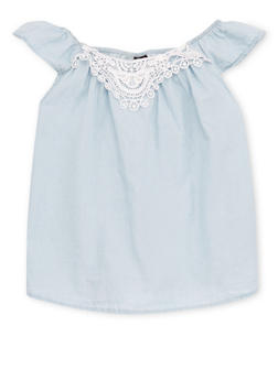 Girls 4-16 Off The Shoulder Chambray Babydoll Top with Crochet Trim - 1605038340023
