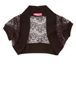 Girls 4-6x Lace Open Front Shrug Sweater - 1605038340027